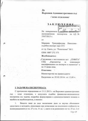 Съдебна финансово-икономическа експертиза - 1 страница